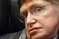 "In this file photo taken on April 13, 2005, British astrophysicist Stephen Hawking presents his new book ""A Brief History of Time"" in Oviedo, northern Spain."