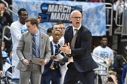 Rhode Island coach Dan Hurley applauds during Thursday's game vs. Oklahoma.
