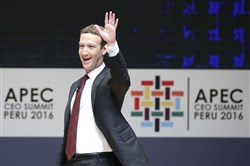 This file photo shows Facebook founder and CEO Mark Zuckerberg participating in the APEC CEO Summit in the frame of the Asia Pacific Economic Cooperation Forum on Nov. 19, 2016, in Lima, Peru.
