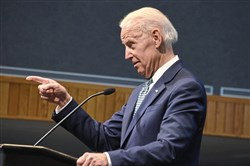"Vice President Joe Biden talks about  ""Dan Rooney"" at ""Slainte! Celebrating the Life and Legacy of Daniel M. Rooney"" , in the Ballroom at the Duquesne Union Friday March 16."