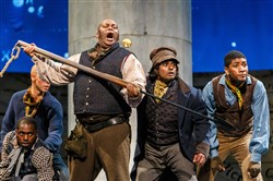 "Pittsburgh Opera's ""Moby Dick"" dress rehearsal photo.  The crew of the Pequod prepares for the final chase."