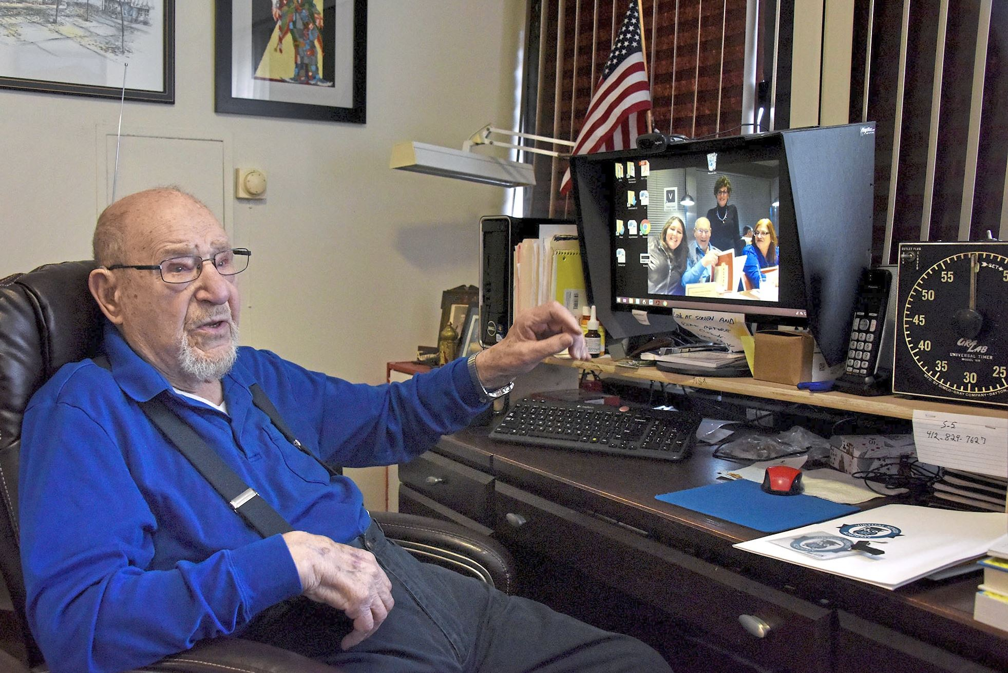 20180316dsSENIORACADEMY0319Local08-7 Al Fineman, 97, talks about his chatroom and using his computer in his living room at the Riverview Towers apartments in the Squirrel Hill. Mr. Fineman is part of the Jewish Healthcare Foundation-sponsored Virtual Senior Academy. Participants use their home computers to take various online classes and interact with each other through the video conferencing. It helps social connections for people who have difficulty getting out due to age.