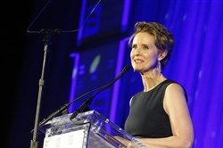 "In this Feb. 3, 2018, file photo, Cynthia Nixon, former star of ""Sex and the City,"" is honored by The Human Rights Campaign with an HRC Visibility Award in New York."