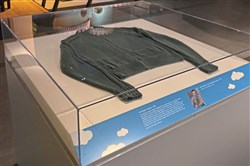 "The green ""Mister Rogers' Neighborhood"" sweater that just went on display at the Senator John Heinz History Center."