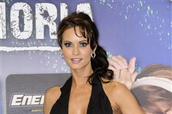 This file photo shows Karen McDougal on Jan. 8, 2011, at the AVN Adult Entertainment Expo in Las Vegas.