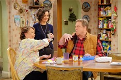 "Roseanne Barr, Sara Gilbert and John Goodman star in the reboot of ""Roseanne"" that debuts Tuesday."