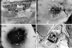 This combination of pictures created March 20, 2018, of handout images provided by the Israeli army reportedly shows an aerial view of a suspected Syrian nuclear reactor during bombardment in 2007.