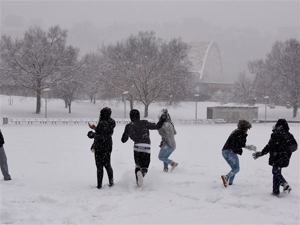 Students from the Bahamas, experiencing snow for the first time, have some fun in Point State Park across from the Wyndham Grand Hotel Wednesday in Downtown Pittsburgh. The students arrived Tuesday evening for the National Society of Black Engineers' 2018 Convention.