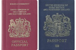 This file photo released December 22, 2017, shows a combination image of two handout pictures released by the U.K. passport office of a burgundy (L) and blue United Kingdom passport.