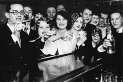 "In this photo, which is included in the ""American Spirits"" exhibit at the Heinz History Center, speakeasy patrons in Chicago celebrate the 21st amendment, which ended Prohibition in 1933. The ""21+ Speakeasy Social"" at 5:30 p.m. Thursday, March 29, will include admission to the ""American Spirits"" exhibit."