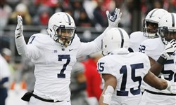 Penn State linebacker Koa Farmer celebrates a fumble recovery last October against Ohio State.
