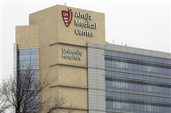 This March 12, 2018 file photo shows the University Hospital Ahuja Medical Center in Beachwood, Ohio. The University Hospital in Ohio and another fertility clinic in San Francisco experienced equipment failures on the same day that may have damaged hundreds of frozen eggs and embryos.