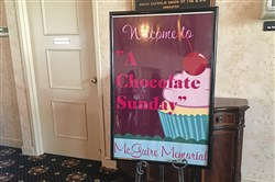 A sign welcomes attendees to last year's A Chocolate Sunday event. This year's event will be held Sunday at Seven Oaks Country Club in Beaver.