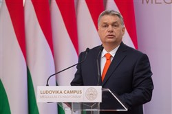 Hungarian Prime Minister Viktor Orban delivers a speech at the inauguration ceremony of the Ludovika Campus of the National University of Public Service in Budapest, Hungary on April 4.