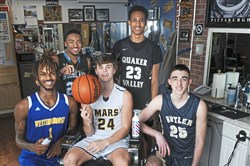 The Fab 5 at Joe Madia's Barber Shop, Uptown. From left, James Ellis of Westinghouse, Amante Britt of Woodland Hills, Robby Carmody of Mars, Coletrane Washington of Quaker Valley and Ethan Morton of Butler.