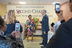 U.S. Sen. Bob Casey, center right, says goodbye to Sharon McDaniel, president and CEO of A Second Chance, Inc., after discussing his new bipartisan legislation, the Supporting Grandparents Raising Grandchildren Act (S. 1091) on Monday, April 9.