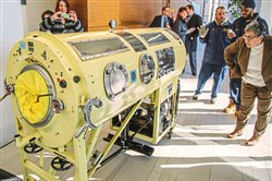 An iron lung donated by the Salk Institute for Biological Studies in La Jolla, Calif., went on display Tuesday in the lobby of Parran Hall at the University of Pittsburgh Graduate School of Public Health. It treated patients with polio who lost the ability to breathe on their own.