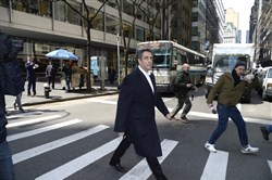 Michael Cohen, President Donald Trump's personal lawyer, walks on Park Avenue on April 11, 2018 in Manhattan.