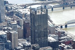 One PPG Place, Downtown, as seen from an aerial view on April 10, 2018.