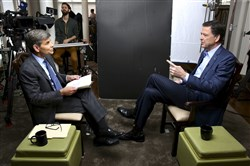 "George Stephanopoulos, left, with former FBI director James Comey on ""20/20."""