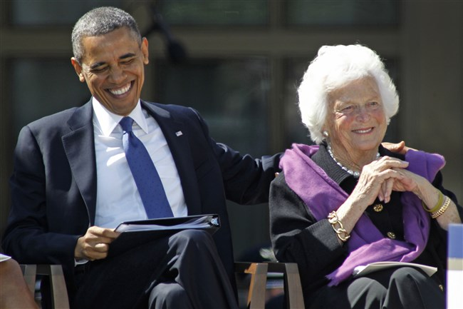 Then-President Barack Obama sits with Barbara Bush during dedication ceremonies for the new George W. Bush Presidential Center in Dallas on April 25, 2013.