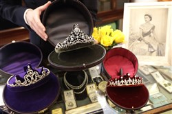 Diamond tiaras are displayed at Bradley & Skinner, an antique and period jewelry specialist in London, on April 5, 2018.