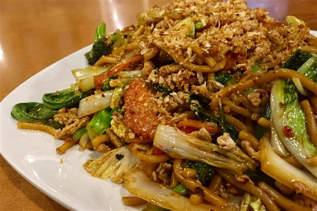 The Drunken Lomain dish with pork and vegetables at Dancing Crab Thai Noodle House on the South Side.