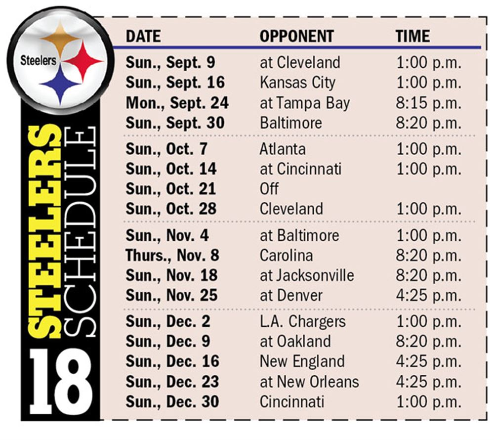 steelers open 2018 season at browns will play five prime time games