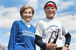 Shirl Mahoney, 75, of South Park  and Jerry Agin, 76, of Shadyside will be the oldest female and oldest local male competing when they line up for the May 6 Pittsburgh Half Marathon and Pittsburgh Marathon, respectively. Mr. Agin takes his bugle to play along the course.