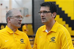 Dave DeGregorio, right, was North Allegheny's boys basketball coach for 12 seasons for resigning in 2016. His brother, Kyle (left), was one of his assistants for a few years.