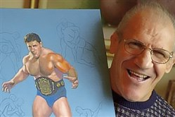 Bruno Sammartino poses in 2000 with a painting depicting him at age 35.