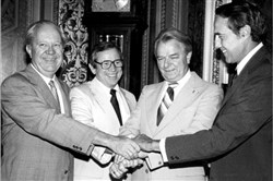 Only a couple of generations ago, the Senate was ruled by giants. Left to right, Russell B. Long of Louisiana, Howard H. Baker Jr. of Tennessee, Robert C. Byrd of West Virginia and Bob Dole of Kansas in 1981.