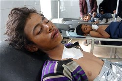 Yemeni boys, injured in an air raid on a wedding party in Yemen, receive treatment at a hospital in Yemen's Hajjah province April 23, 2018.