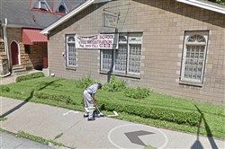 A Google Earth image taken in July 2017 shows Joseph Wilbon sweeping in front of Christian Tabernacle Church and its Harty Bible School in the Hill District.