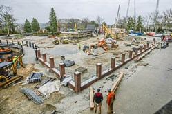 Construction crews work on the new Thomas Town at Kennywood Park on Tuesday in West Mifflin.