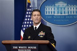 In this file photo, presidential physician Ronny Jackson speaks about President Donald Trump's medical exam during the daily White House press briefing January 16 in Washington.