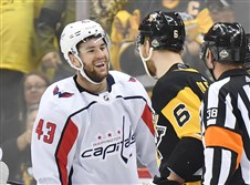 Tom Wilson laughs at Jamie Oleksiak during Game 3 of the Stanley Cup Eastern Conference semifinals.