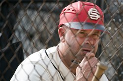 Serra Catholic head baseball coach Brian Dzurenda during a game earlier this season. His team beat Shenango Wednesday to advance to the WPIAL 2A final. (Steph Chambers/Post-Gazette)