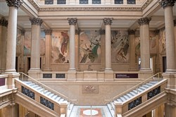 John White Alexander'smurals decorate a three-story marble staircase that links Carnegie Museums of Art and Natural History in Oakland. Mr. White, a Pittsburgh native, was awarded a $175,000 commission to paint mural decorations by the Carnegie Institute in Pittsburgh.