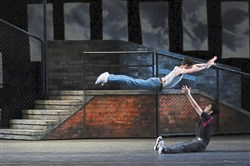 Pittsburgh Ballet Theatre's production of West Side Story Suite: Kurtis Sprowls (in air) & Masahiro Haneji.