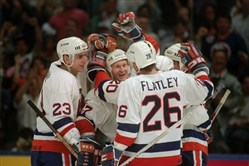 The 1993 New York Islanders beat the Penguins in seven games.