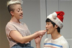 "Katie Lynn Esswein, left, and Christopher Larkin, play teenagers who fend off loneliness together in the world premiere of ""Nomad Motel"" at City Theatre."