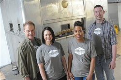 From left, Christopher Hoffman, Christina Decker, Jewel Edwards and Sam Cobbett are the first four bakers-in-residence at The Bakery Society Pittsburgh in Mount Oliver.