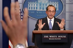 Health and Human Services Secretary Alex Azar takes questions from reporters in the Brady Press Briefing Room at the White House on May 11, 2018, in Washington.