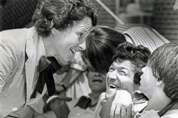Former Pennsylvania First Lady Ginny Thornburgh, a prominent advocate for people with disabilities, with residents of the Robinson Developmental Center in 1983.