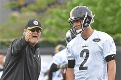 Steelers offensive coordinator Randy Fichtner talks with quarterback Mason  Rudolph during rookie mini-camp Friday 295af6e8e