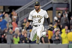 Pirates Starling Marte takes a victory leap after defeating the Giants Friday, May 11, 2018 at PNC Park. (Matt Freed/Post-Gazette)