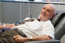 James Harrison, 81, makes his last blood donation on May 11 in Sydney, Australia. His blood contains a rare antibody used in a medication that officials say has helped save the lives of more than two million babies. Medical officials at the Red Cross decided that at 81, their valued donor should stop giving to protect his own health.