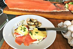 Smoked salmon eggs Benedict at Penn Ave. Fish Company in the Strip District is available for Sunday brunch from 10 a.m. to 2 p.m.
