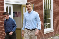 U.S. Rep. Conor Lamb, D-Mt. Lebanon, walks out of the First Church of Christ Scientist's social hall after voting Tuesday in Mt. Lebanon. He was then returning to Washington as Congress was in session.